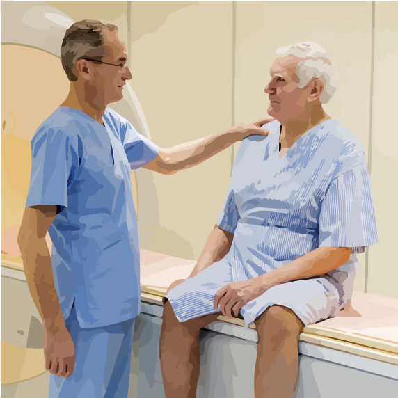 doctor evaluating elderly patient