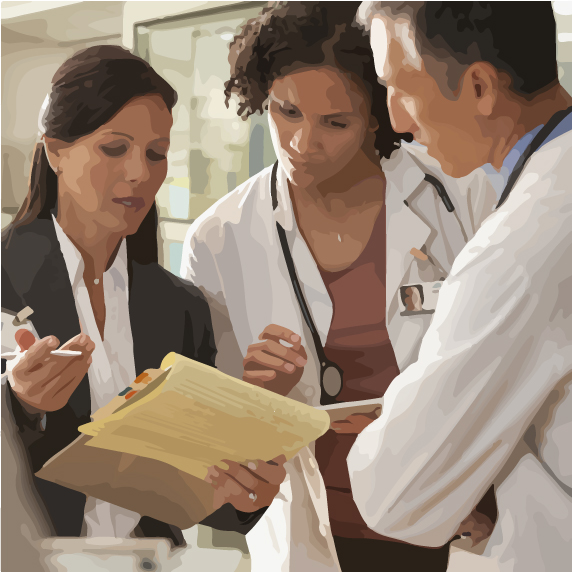 woman talking to doctors