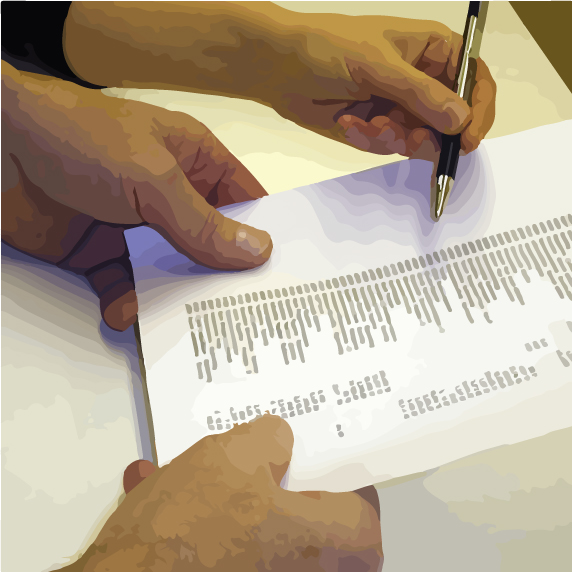 person going through checklist