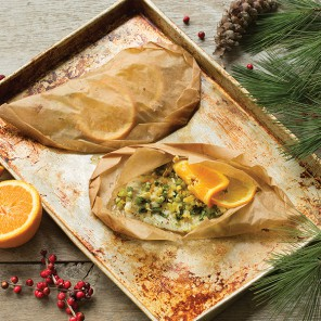 Sole en papillote with citrus and ginger