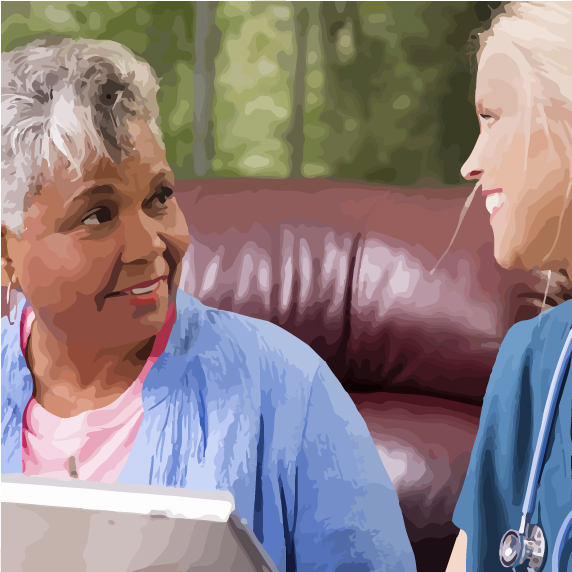 woman speaking with nurse
