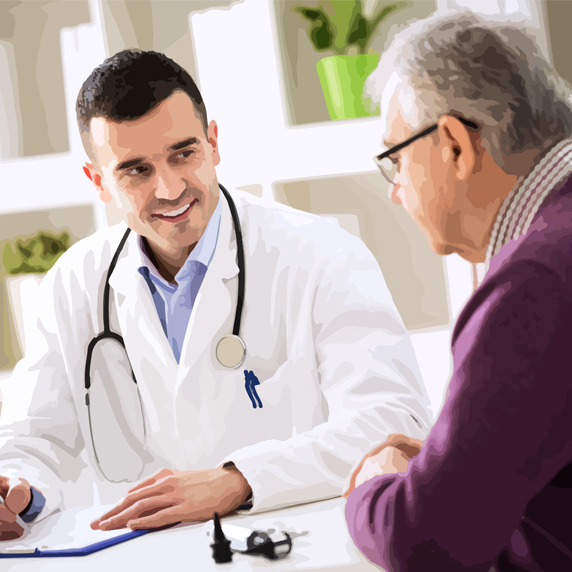 man making treatment plan with doctor